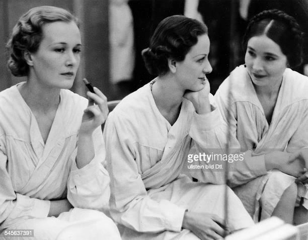 France Chanel models Comtesse de la Falaise and Countess StenbockFermor nee Princess Sherbatov waiting for a fashion presentation 1933 Photographer...