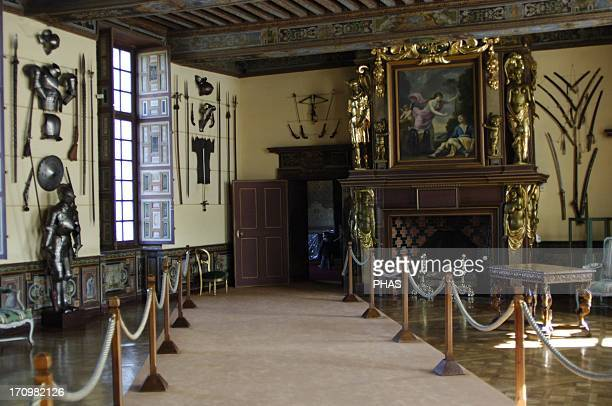 France. Cheverny Castle. Built between 1624 and 1630 by the sculptor-architect of Blois, Jacques Bougier. Arms room and armor. It has retained its...