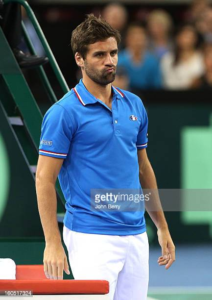 France coach Arnaud Clement looks on during the first round match between Richard Gasquet France and Dudi Sela of Israel on day one of the Davis Cup...