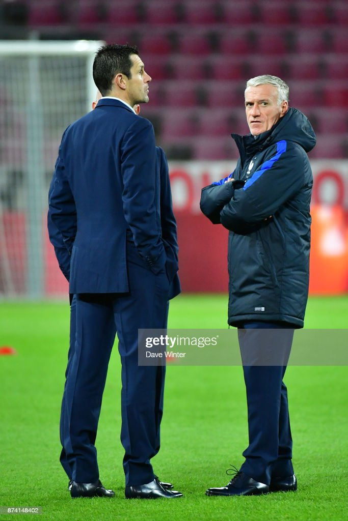 France coach Didier Deschamps and France goalkeeping coach Franck Raviot before the international friendly match between Germany and France at RheinEnergieStadion on November 14, 2017 in Cologne, Germany.