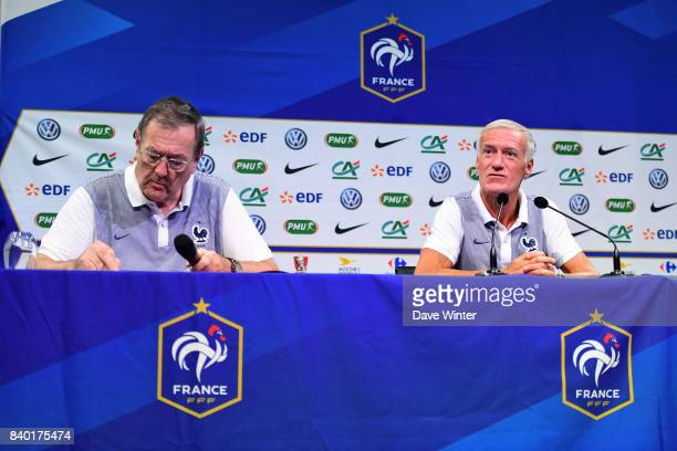 France coach Didier Deschamps and Press attache Philippe Tournon during the press conference at the Centre National du Football on August 28 2017 in...