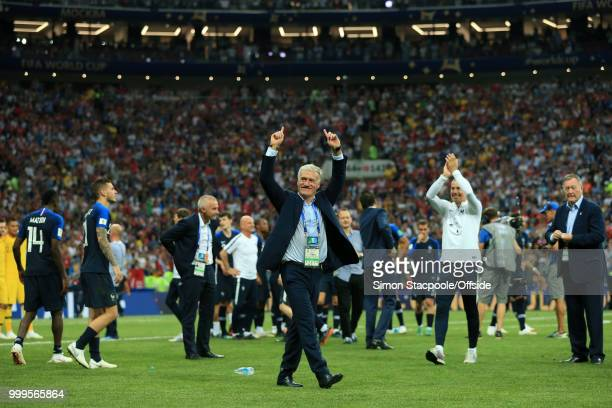 France coach Didier Deschamps celebrates victory after the 2018 FIFA World Cup Russia Final between France and Croatia at the Luzhniki Stadium on...