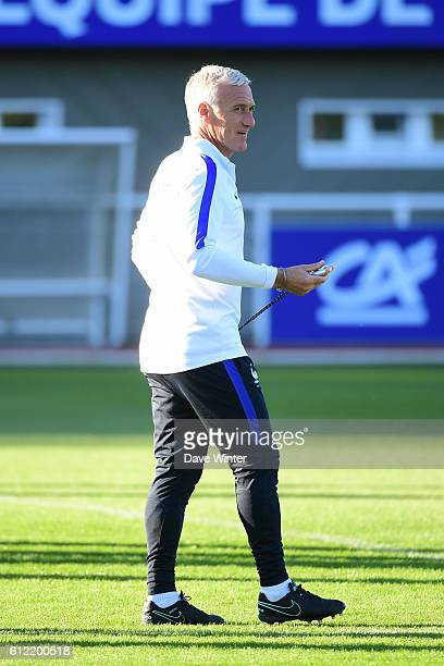 France coach Didier Deschamps during the training session of the French team at the Centre National du Football on October 3 2016 in Clairefontaine...