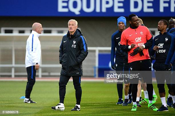 France coach Didier Deschamps during training on the first day of their training ahead of the friendly football match against Netherlands on March 21...