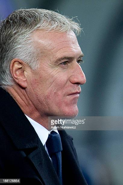France coach Didier Deschamps looks on during the FIFA 2014 World Cup Qualifier Playoff First Leg soccer match between Ukraine and France at the...
