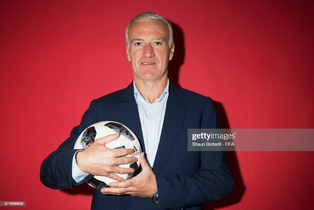 France coach Didier Deschamps poses for a potrait at the team hotel during the official FIFA World Cup 2018 portrait session at on June 11, 2018 in Moscow, Russia.