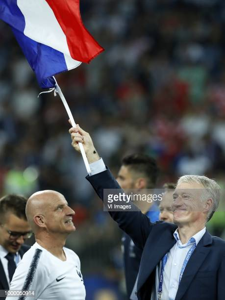 France coach Didier Deschamps with French flag during the 2018 FIFA World Cup Russia Final match between France and Croatia at the Luzhniki Stadium...