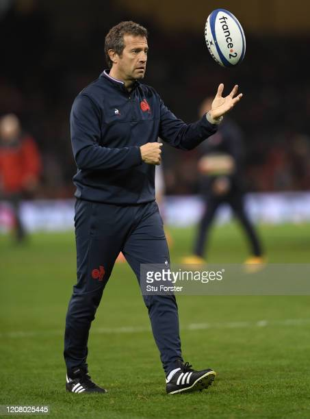 France coach Fabian Galthie juggles a ball during the warm up before the 2020 Guinness Six Nations match between Wales and France at Principality...