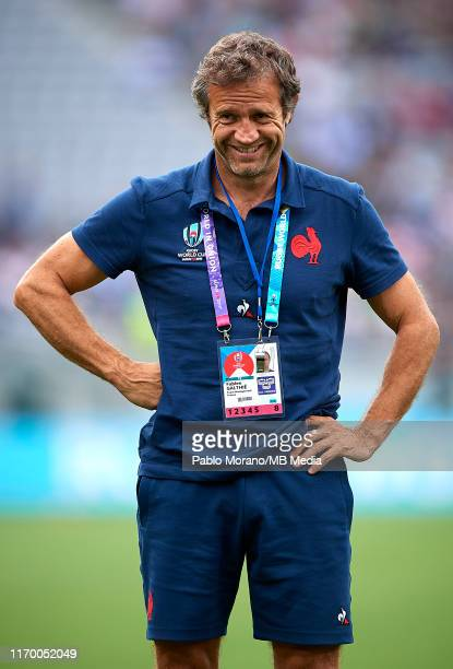 France coach Fabien Galthie looks on prior the Rugby World Cup 2019 Group C game between France and Argentina at Tokyo Stadium on September 21 2019...