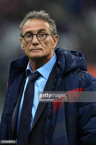 France coach Guy Noves looks on prior to the Autumn International between France and New Zealand at the Stade de France on November 11 2017 in Paris...