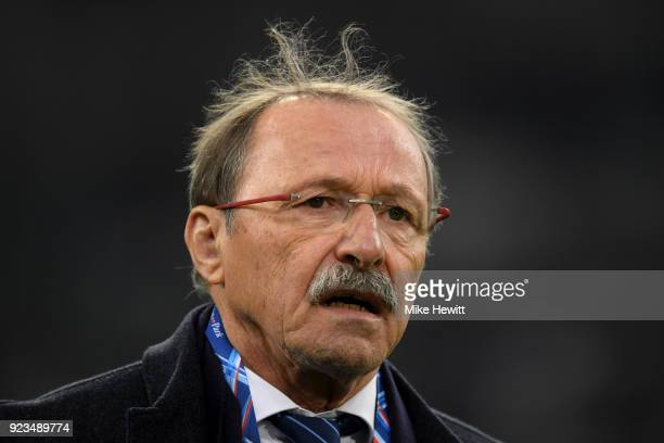 France coach Jacques Brunel ahead of the NatWest Six Nations match between France and Italy at Stade Velodrome on February 23 2018 in Marseille France