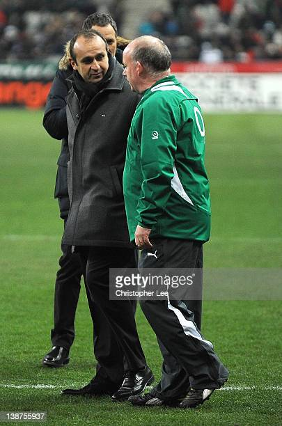 France Coach Philippe Saint Andre and Ireland Coach Declan Kidney talk before kick off during the RBS 6 Nations match between France and Ireland at...