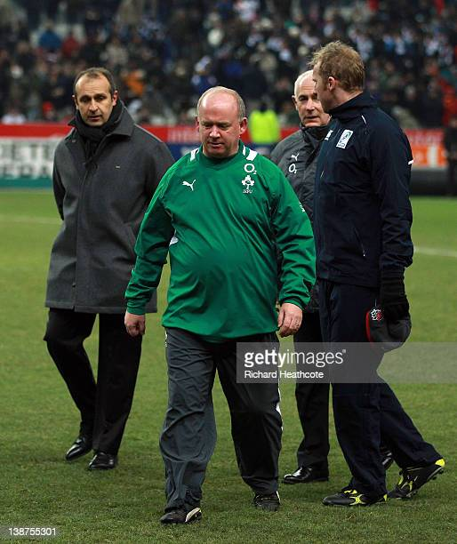France Coach Philippe SaintAndre and Ireland coach Declan Kidney walk off as the match is called off just before kick off due to a frozen pitch...