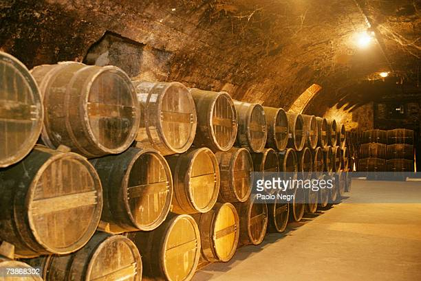 france, cognac, otard distillery, rows of kegs in cellar - cultura francesa - fotografias e filmes do acervo