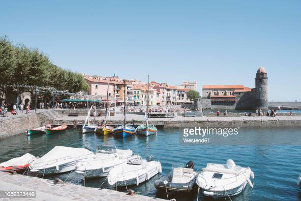 france, collioure, boats in harbor - languedoc rousillon stock pictures, royalty-free photos & images