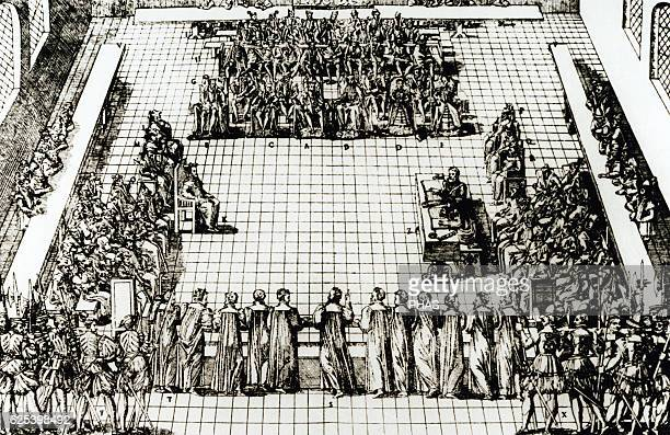 France Colloquy at Poissy 1651 Religious conference which took place between the Catholics and Protestants of France Engraving