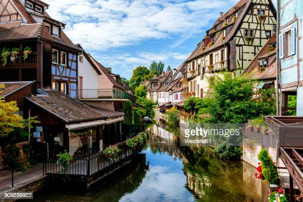 france, colmar, half-timbered houses in little venice - colmar stock photos and pictures