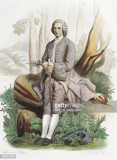France colour engraving of philosopher JeanJacques Rousseau