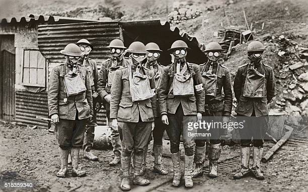 Combating German Frightfulness The members of the American Expedition Forces in the 1st line trenches at the Lorraine section during WWI were fully...