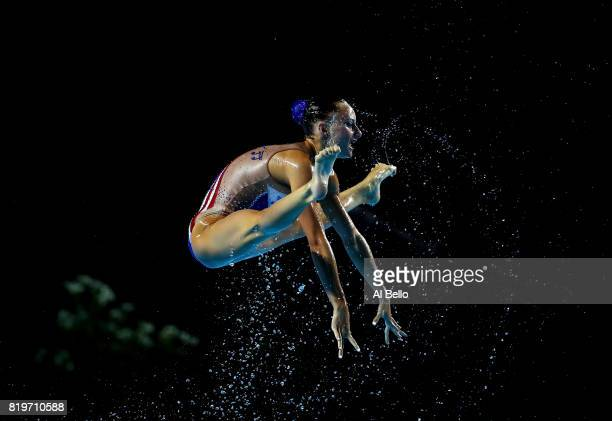 France compete during the Synchronised Swimming FreeCombination preliminary round on day seven of the Budapest 2017 FINA World Championships on July...