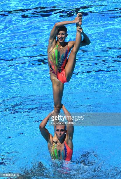 France compete during the Synchronised Swimming Team Free final on day eight of the Budapest 2017 FINA World Championships on July 21 2017 in...