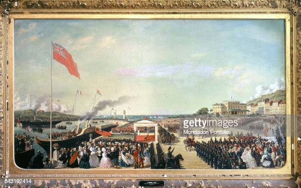 France, Compiegne, Chateau de Compiegne. Whole artwork view. The Queen Victoria of United Kingdom reaching the port of Boulogne-sur-Mer and being...