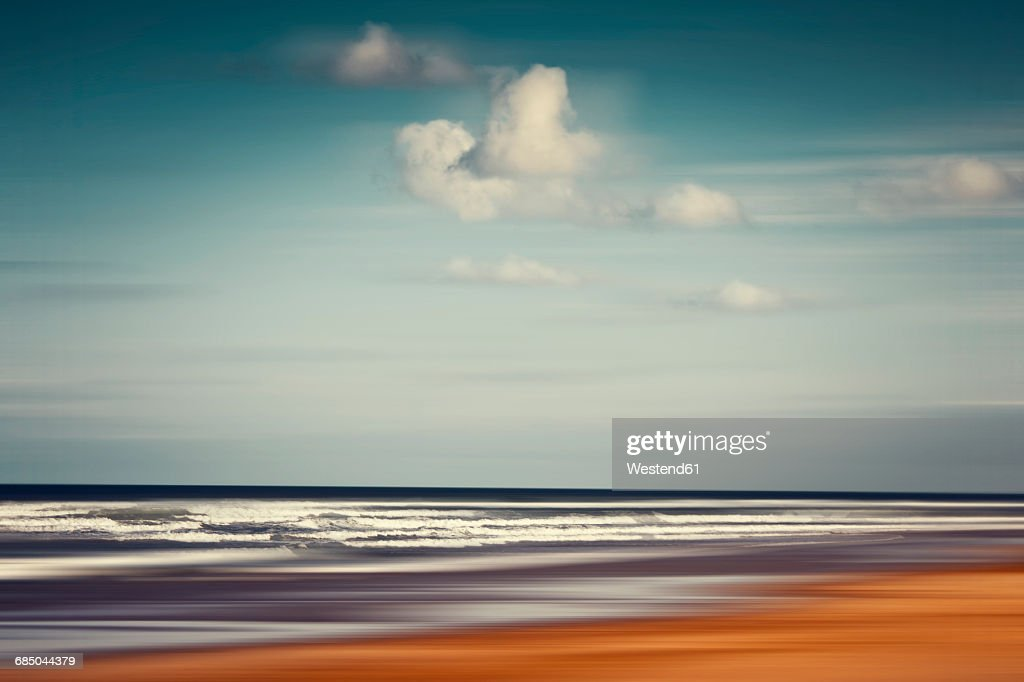 France, Contis-Plage, abstract beach landscape : Stock Photo
