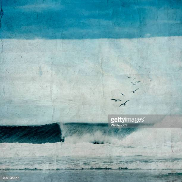 France, Contis-Plage, breaking wave, textured photography