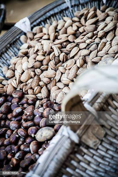 France, Corsica, Basket of almonds