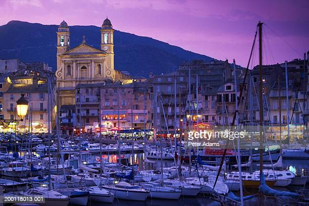 France, Corsica, Bastia, harbour at dusk