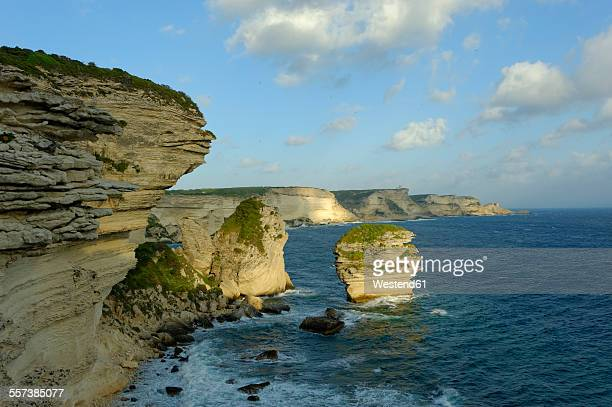 France, Corsica, Corse-du-Sud, Bonifacio, View to coast with chalkstone