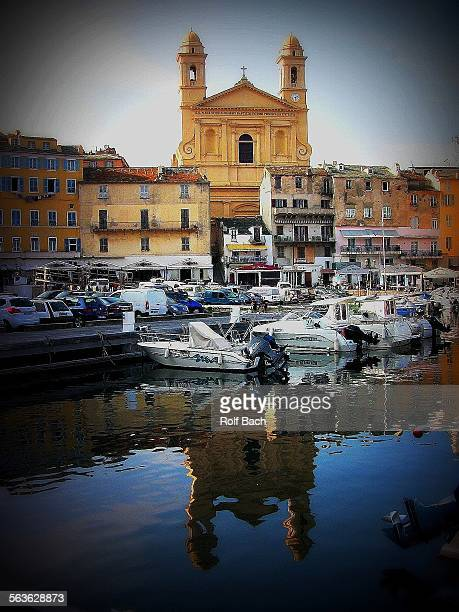 France, Corsica, old harbor in Bastia ,church