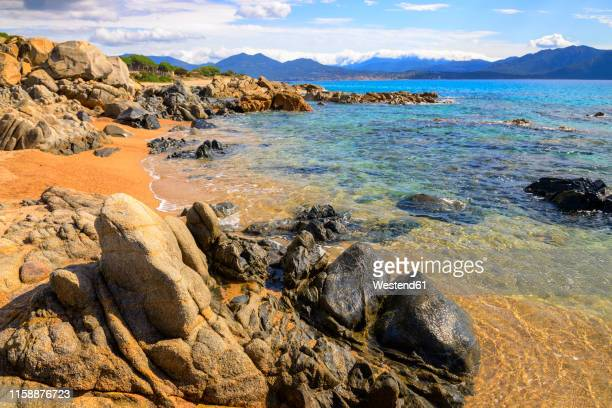france, corsica, propriano, rocky seafront - rivage photos et images de collection