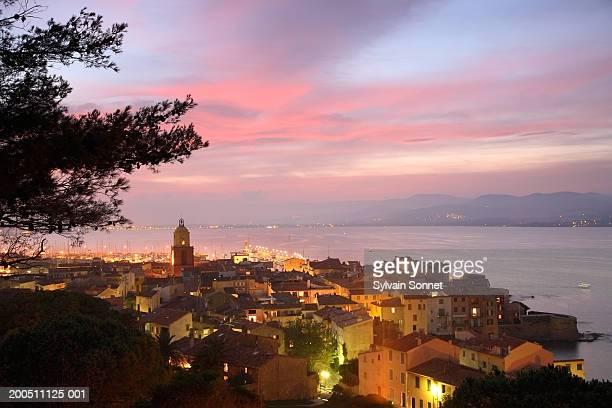 france, cote d'azur, var, st tropez, cityscape, elevated view, dusk - st tropez stock pictures, royalty-free photos & images