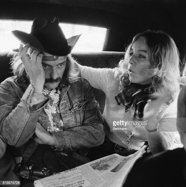 """France Daunic may be telling Dennis Hopper, star of the new film, """"The Last Movie,"""" not to worry as he appears somewhat anxious as he checks ads for..."""
