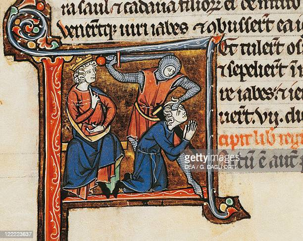 France David ordering to kill the messenger announcing Saul's death miniature from the Latin Bible of the Abbey of Mont SaintEloi