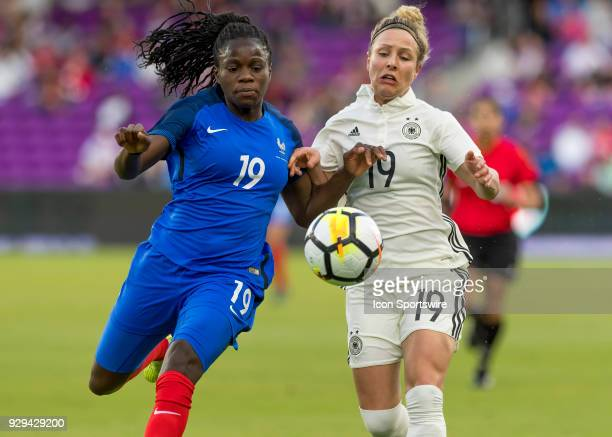 France defender Griedge Mbock Bathy vs Germany forward Svenja Huth during the SheBelieves Cup between Germany and France on March 7th 2017 at Orlando...