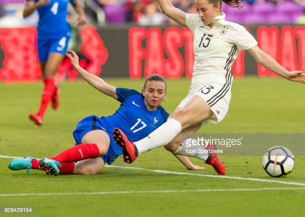 France defender Marion Torrent blocks Germany defender Sara Doorsoun shot on goal SheBelieves Cup between Germany and France on March 7th 2017 at...
