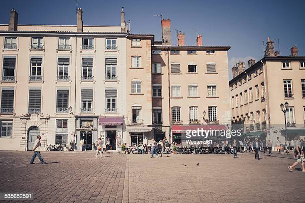 France, Department Rhone, Lyon, Historic town centre, row of houses and sidewalk cafes