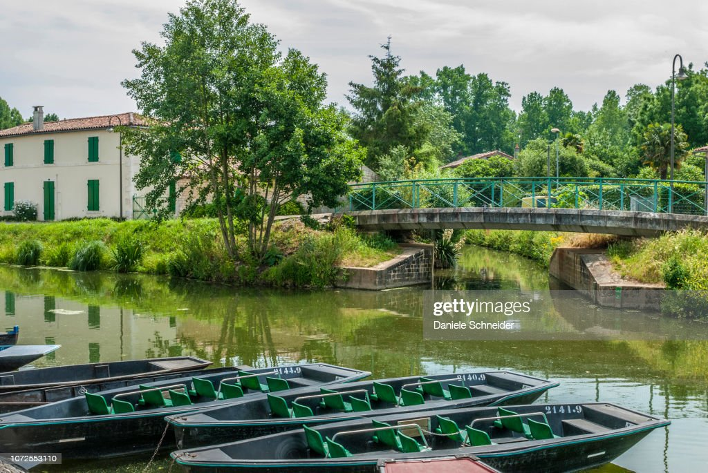 France, Deux Sevres, punts at Coulon in the Marais Poitevin : Stock Photo