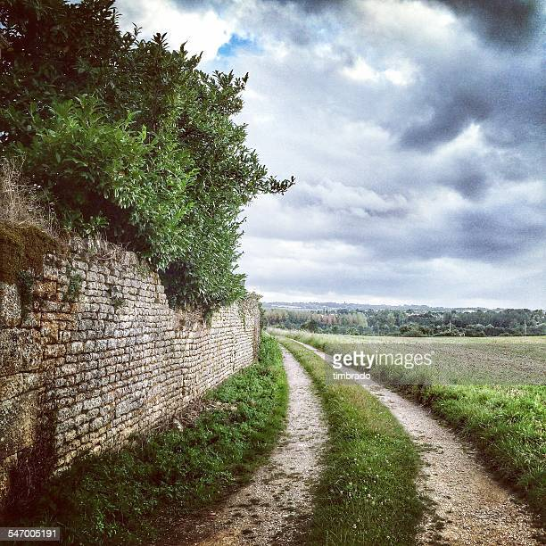 france, deux-sevres, road along wall - deux sevres stock photos and pictures