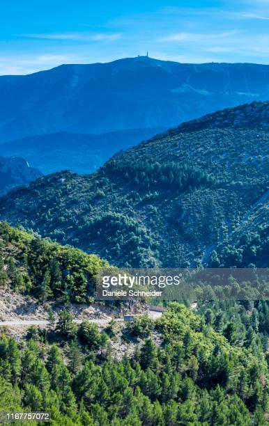 france, drome, the provencal baronnies regional natural park, landscape, the mont ventoux mountain in the background - auvergne rhône alpes stock pictures, royalty-free photos & images