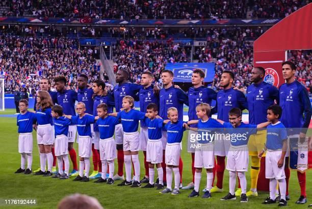 France during the national anthem Antoine Griezmann of France, Kingsley Coman of France, Blaise Matuidi of France, Wissam Ben Yedder of France,...