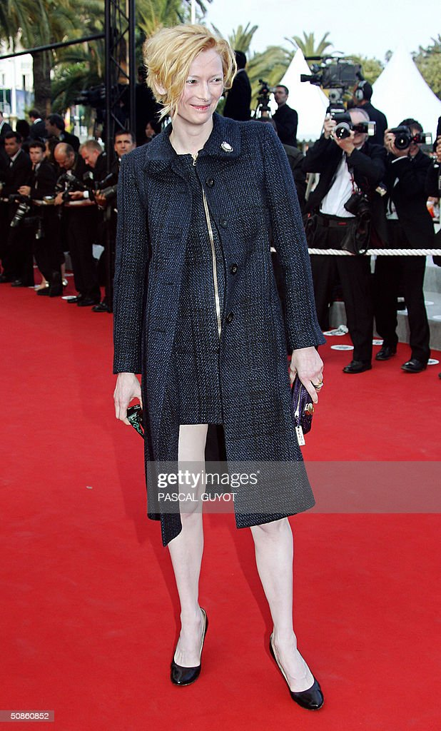 English actress and jury member Tilda Swinton arrives for the official projection of Chinese director Wong Kar-Wai's '2046', 20 May 2004, at the 57th Cannes Film Festival. China's lone entry in the festival's official competition for the prestigious Palme D'Or is a poetic film that was five years in the making.