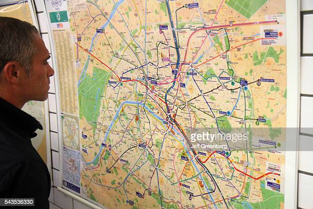 France Europe French Paris 9th 18th arrondissement Pigalle Metro Station Line 2 12 subway public transportation rider passenger