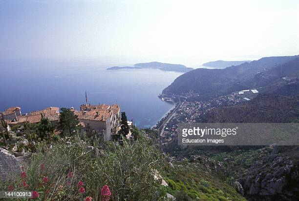 France Eze Aerial View Of Village And Coastline
