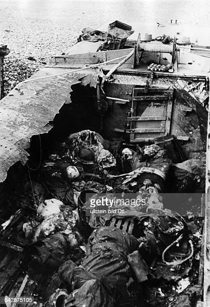 WW II France Failed Dieppe Raid destroyed landing craft with 56 dead canadians after dircect hit of german artillery