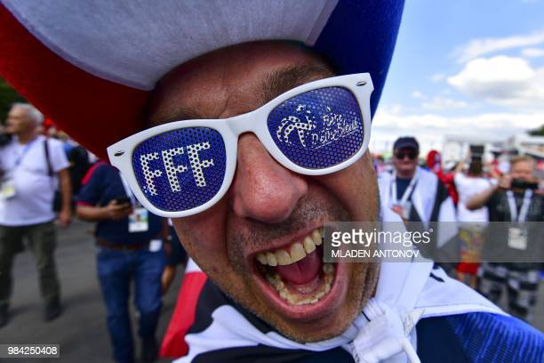 France fan arrives prior to the Russia 2018 World Cup Group C football match between Denmark and France at the Luzhniki Stadium in Moscow on June 26...