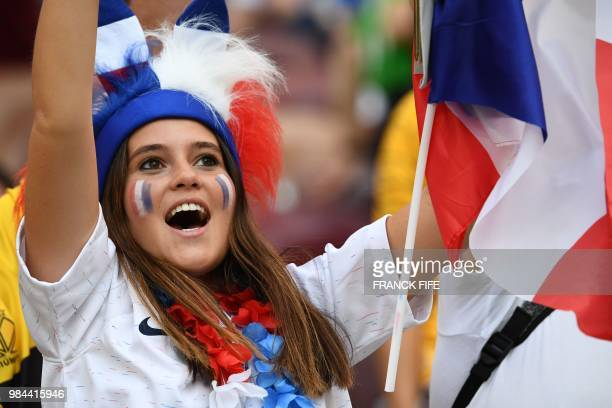 France fan cheers before the Russia 2018 World Cup Group C football match between Denmark and France at the Luzhniki Stadium in Moscow on June 26...