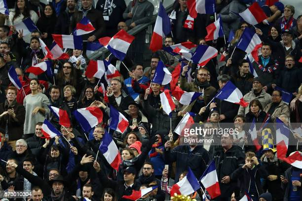 France fans attend the Autumn International between France and New Zealand at the Stade de France on November 11 2017 in Paris France